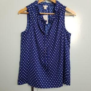 J.Crew blue polka dots sleeveless top size 6 -N2